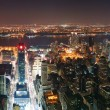 New York City Manhattan skyline aerial view panorama at sunset — Stock Photo