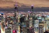 Chicago Urban aerial view at dusk — Stock Photo