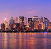 Nueva york manhattan anochecer panorama — Foto de Stock
