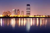 Urban city night panorama — Stock Photo