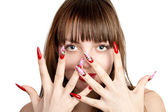 Woman with fingernails — Stock Photo