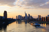 Frankfurt am Main, Germany at dusk — Stock Photo