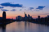 Frankfurt am Main, Germany in the twilight — Stock Photo