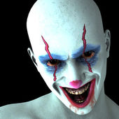 The evil laugh one clown — Stockfoto