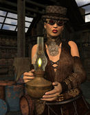 Woman in steampunk look with lamp — Stockfoto