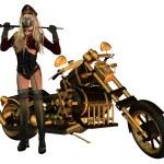 Постер, плакат: Sexy woman in motorcycle clothing motorcycle