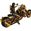 Biker on a motorcycle Steampunk - Stock Photo