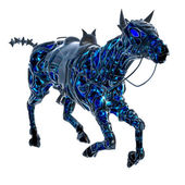 Blue abstract horse in gallop — Stock Photo