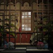 Hintergrund dekorative wand mit fenstern und raumteiler — Stockfoto