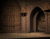 Hintergrund-zelle in einem alten schlosskeller — Stockfoto