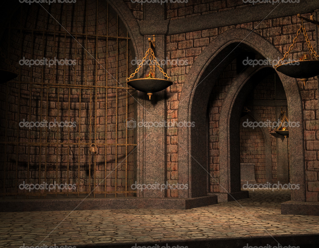 3D Rendering Background cell in an old castle cellar  Stock Photo #8471413