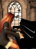Piano player with red hair — Stock Photo
