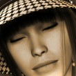 Dream Girl mit hat  in Sepia — Stock Photo