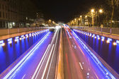Night traffic in Brussels — Stock Photo