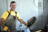 Smiling welder at work — Foto Stock