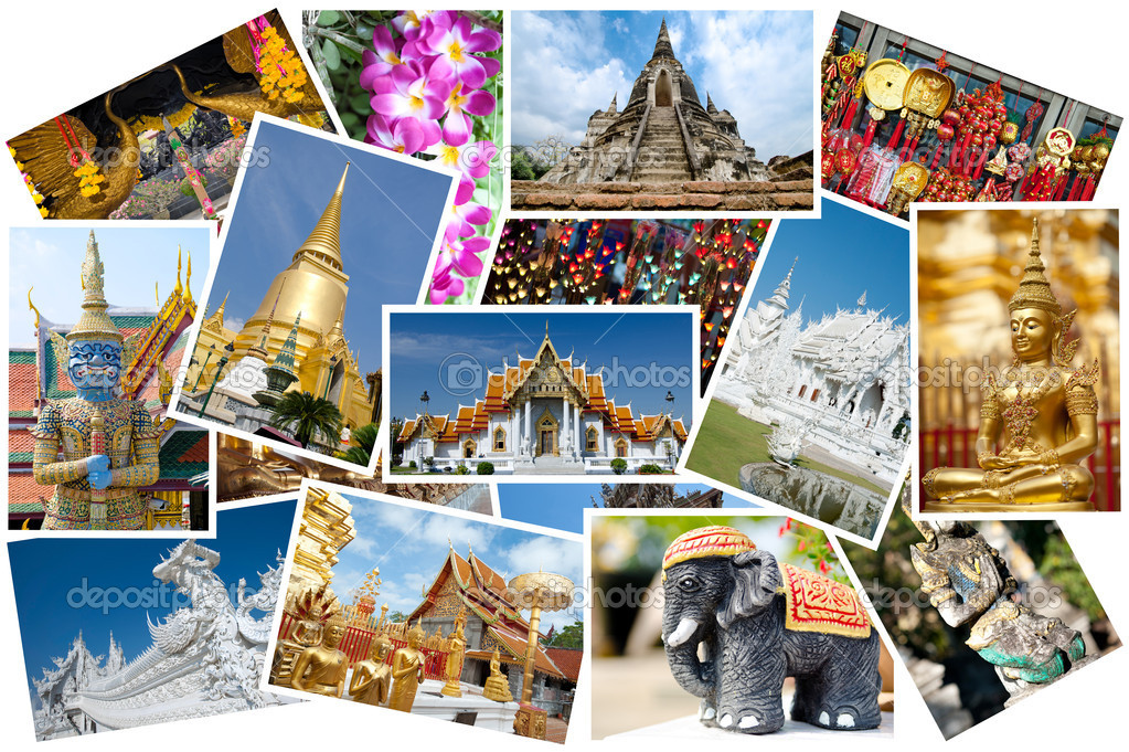 Montage of Thailand images displayed in a postcard style — Stock Photo #8775011