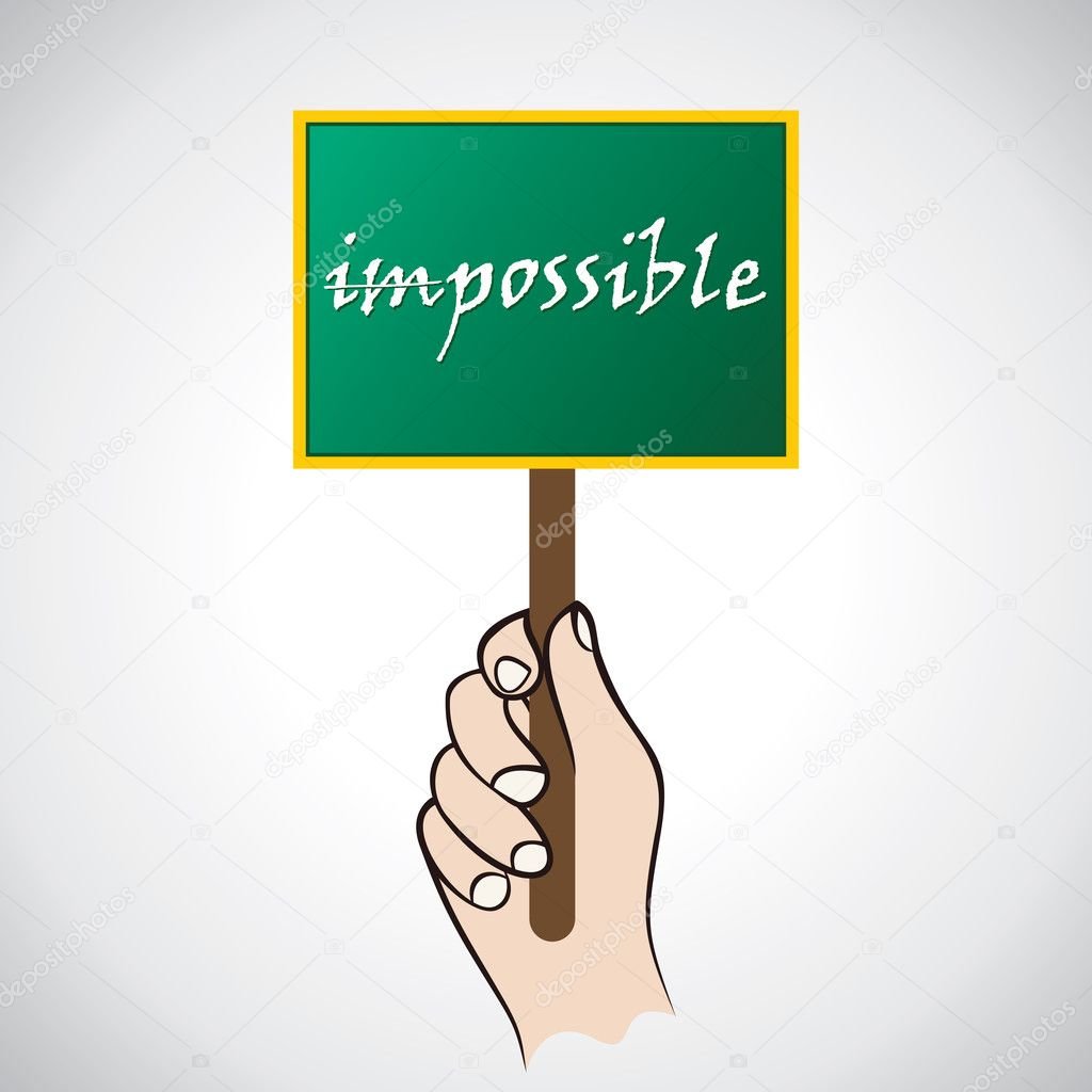 Everything is possible board in hand — Stock Vector #8765814
