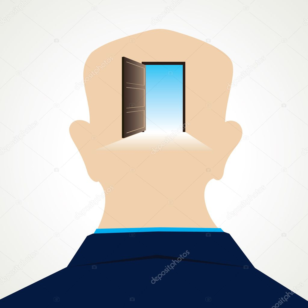 Door at the back of the men head — Stock Vector #9900156