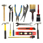 Varied tools on plain background — Stock Photo