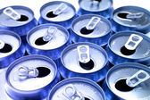 Open aluminum drink cans closeup — Stock Photo