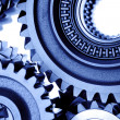 Closeup of steel cogs together — Stock Photo