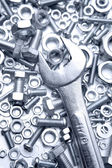 Wrench on nuts and bolts — Foto de Stock