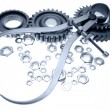 Calipers, nuts and cogwheels - Stock Photo