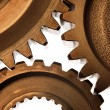 Stock Photo: Closeup of steel cogs together