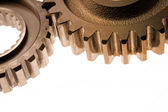 Two gears meshing together — Stock Photo