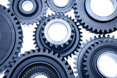 Steel gears meshing together — Stock Photo