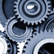 Stock Photo: Steel gears meshing together