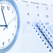 Clock face, calendar page and diary — Stock Photo