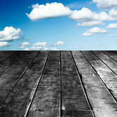 Perspective Old Wood Texture in Front of Blue Skies — Stock Photo