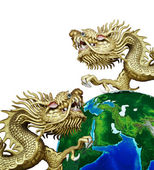 Duo Golden Chinese Dragon with global — Stock Photo