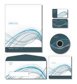 Kurumsal kimlik şablon vektör - antetli kağıt, iş ve hediye kartları, c — Stok Vektör