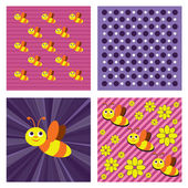 Abstract Vector Background with Bees. — Stock Vector