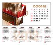 2012 Calendar. October. — Stock Vector