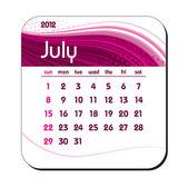 2012 年日历。7 月。eps10. — 图库矢量图片