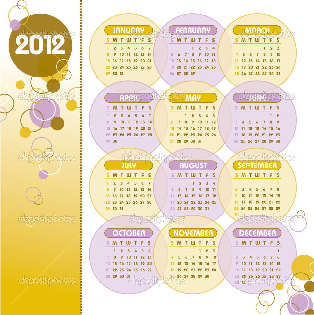 2012 Calendar.  Stock Vector #9536592