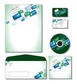 Corporate Identity Template Vector - letterhead, business and gift cards, cd, cd cover, envelope. — Stockvektor
