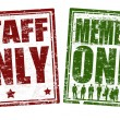 Staff and member only stamps — Imagen vectorial