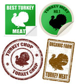 Set of turkey meat labels and stamps — Stock Vector