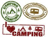 Camping frimärken — Stockvektor