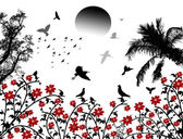 Birds flying over red flowers — Stock Vector