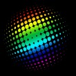 Vector de stock : Halftone circle with rainbow colors