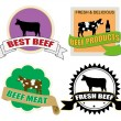 Stickers set with beef meat — Stock Vector