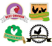 Stickers set with chicken meat — Stock Vector