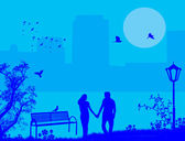 Paar in einem stadtpark auf blau — Stockvektor