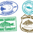 Set of fishing stamps — Stock Vector