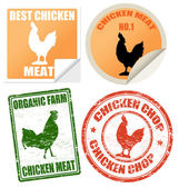 Set of chicken meat labels and stamps — Stock Vector